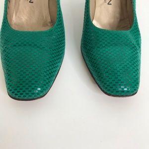 St. John Shoes - St John heel pumps 7AA textured green gold detail